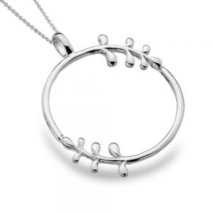 Beautiful Sterling Silver Jewellery: Large 40mm Circle Pendant with Leaf Fronded Details