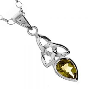 Celtic Sterling Silver Jewellery: Trinity Design Green Peridot Pendant
