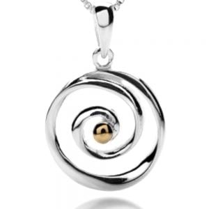 Silver and Gold Spiral Pendant sterling silver 925 york uk best jewellers