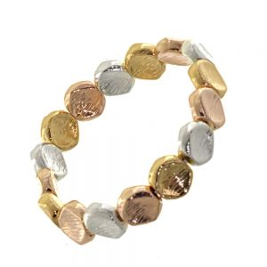 Multi-Tone Fashion Jewellery: Gold, Rose Gold and Silver Chunky Pebble Stretch Bracelet with Scratched Finish