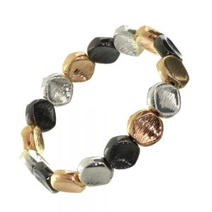 Multi-Tone Fashion Jewellery: Black Hematite, Rose Gold and Silver Chunky Pebble Bracelet with Scratched Finish