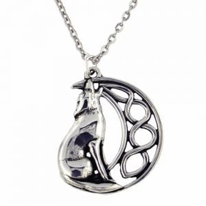 Howling wolf and moon pendant