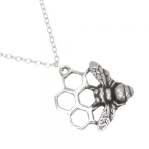 St Justin HandMAde Pewter Jewellery: Beautiful Bee honeycomb pendant – pewter pendant with a solid bee resting on openwork honeycomb design. (SJ28)