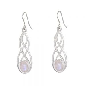 St Justin Pewter Jewellery: Beautiful 3cm Drop Earrings with Woven Celtic Knot and Rainbow Moonstone (SJ27)