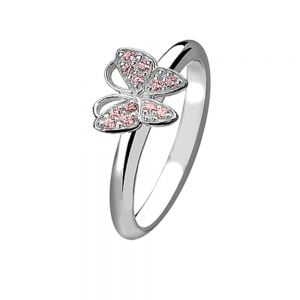 Pink Crystal Butterfly Sterling Silver Stacking Ring