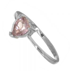 Pretty Sterling Silver Jewellery: Light Violet Swarovski Crystal Loveheart Ring (SR132)