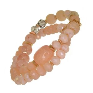 Gorgeous Fashion Jewellery: Gold and Pink Double Strand Stretch Bracelet with Clear Crystals and Semi-Precious Beads (DX5)B)
