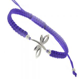 Sterling Silver Jewellery: Dragonfly Design Purple Cord Adjustable Bracelet