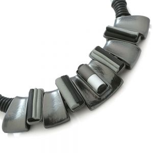 Magnetic Fashion Jewellery: Quirky Grey and Black Neoprene Rubber Necklace with Grey Tone Multi-Textured Design