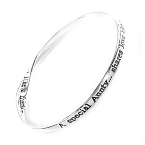 Silver Plated Bangle: A special Aunty, shares Love like a mother, hugs like a sister and is trusted like a friend.  Quote Bangle
