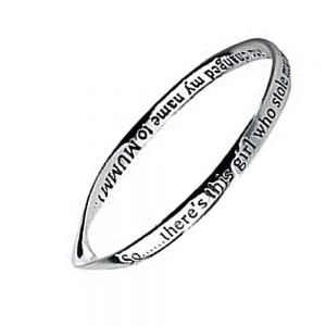 Sentimental Message Bangle inscribed: So....There's this girl who stole my heart and changed my name to MUMMY
