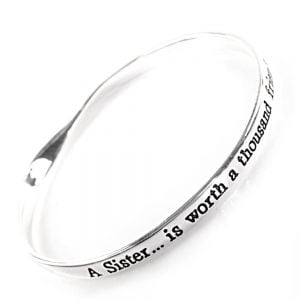 quote jewellery, a sister is worth a a thousand friends. Quote Bangle