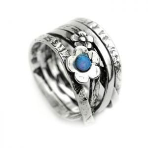 Aviv Sterling Silver: Chunky Ring with Blue Opal and Floral Motif
