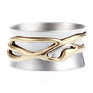 sterling Silver and Brass Organic Spinning Ring