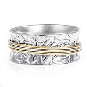 Patterned Silver Ring with Spinning Brass Bands
