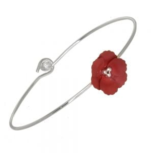 Cute Fashion Jewellery: 6cm Diameter Bangle with Matt Burgundy Flower (I58)A)