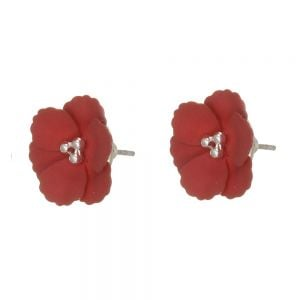 Cute Fashion Jewellery: Gorgeous 1.5cm Flower Stud Earrings with Matt Burgundy Petals (I57A)