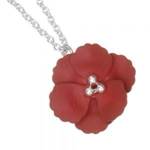 Cute Fashion Jewellery: Delicate Silver Chain Necklace with Matt Burgundy Poppy Flower Pendant (I59)A)