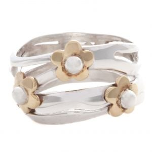 Sterling Silver Ring with Brass Flowers