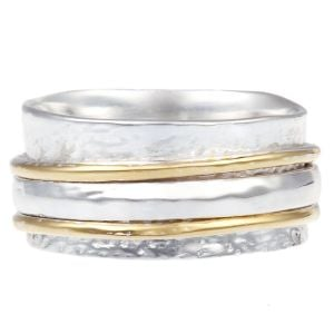 Wide Sterling Silver and Brass Ring