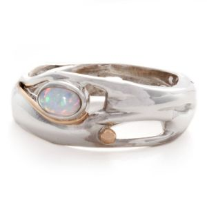 Sterling Silver and Opal Ring with Gold Filigree Detail