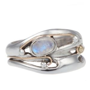Sterling Silver Ring with Moonstone and Gold Detail