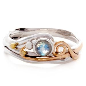 Sterling Silver and Gold Ring with Moonstone