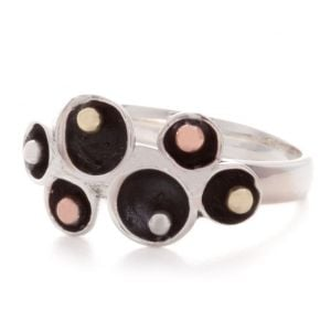 Sterling Silver and Mixed Metal Oxidised Ring