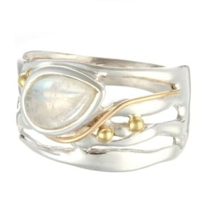 Sterling Silver Ring with Moonstone Teardrop