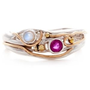 Sterling Silver Pearl and Ruby Ring with Gold Detail