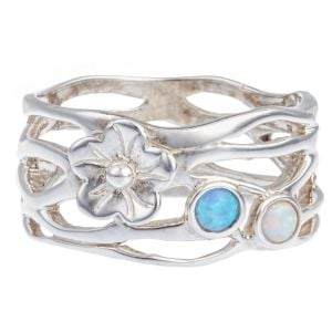 Sterling Silver Flower Ring with Opalite