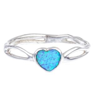 Sterling Silver Ring with Opalite Heart
