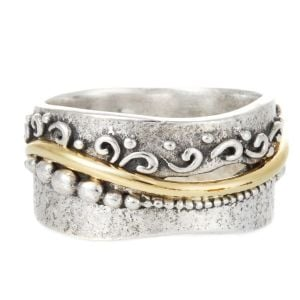 Textured Silver and Brass Flourish Ring