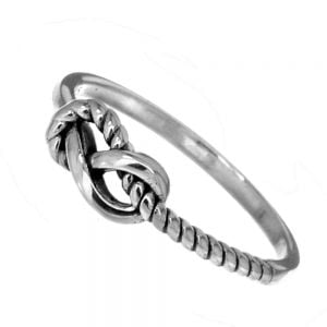 autical Sterling Silver Jewellery: Half-Oxidised Rope Ring with Infinity Knot (SR119)