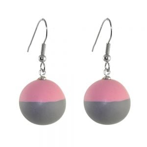 Ruby Olive Jewellery: Grey and Pink Mix Bauble Drop Earrings (3.5cm) (RO7)