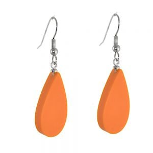 Ruby Olive Jewellery: Hand-Poured Resin Teardrop Earrings in Matt Papaya Orange (3cm) (RO4)p)