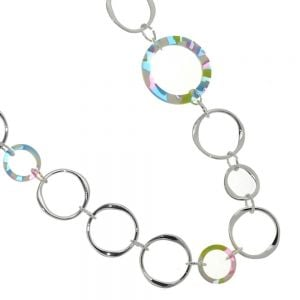Long Accent of Colour Fashion Jewellery: Silver Tone Hoops Necklace With Multicolour Resin Circular(M477)