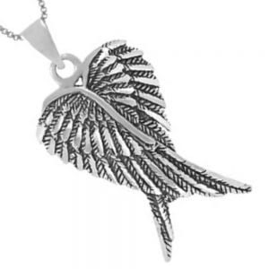 Oxidised Sterling Silver Angel Wings Pendant