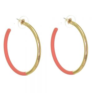 Contemporary Fashion Jewellery: Chunky 4.5cm GOLD and Pink 3/4 Hoop Earrings (I53)A)