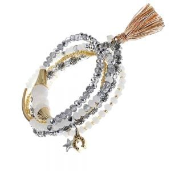 Set Of Grey Tone Stretch Bracelets With Tassel Charm