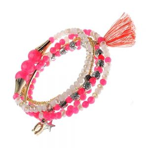 Festival Fashion: Set Of Hot Pink Stretch Bracelets With Tassel Charm