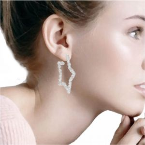 Gorgeous Statement Fashion Jewellery: Large 5cm Silver Chunky Textured Star Earrings in Hoop Style (M230)B)