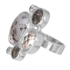 SALE! Sterling Silver Grey and Clear Crystal and Quartz Ring (Adjustable M-T) (SR158)