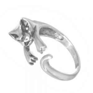 Cats Collection: Sterling Silver Finger Hugging Cat Ring (SR149)