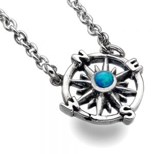 Beautiful Sterling Silver Jewellery: Small 11mm Compass Pendant with Opal Dot