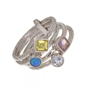 Beautiful Sterling Silver Jewellery: Set of Four Joined Stacking Rings with Topaz, Blue Opal, Amethyst and Peridot Stones