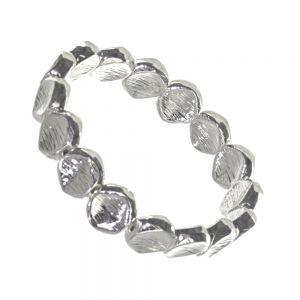 Rue B Fashion Jewellery: Beautiful Silver Chunky Pebble Stretch Bracelet with Scratched Finish