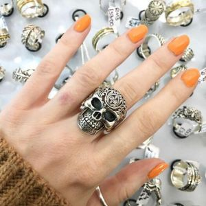 Sterling Silver Jewellery: Large Statement Gothic Skull Ring with Swirling Detail