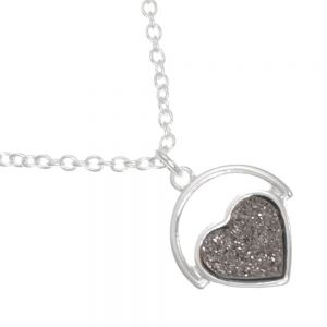 *Shimmer* Fashion Jewellery: Delicate 40cm Chain with Iridescent Peach Champagne Druzy Heart (M168)B)