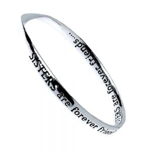 Silver Plated Message Bangle - SISTERS are forever friends...SISTERS are forever friends.... …